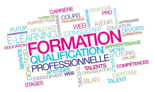 formation professionnelle qualification emploi pro e learning à distance compétences nuages de mots couleurs texte multicolore